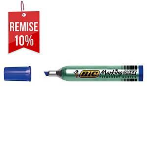 Marqueur permanent Bic Onyx Marker 1591 - pointe biseautée 3 à 5,5 mm - bleu