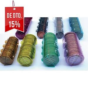 Pack de 100 blísteres para moedas de 1 € - amarelo