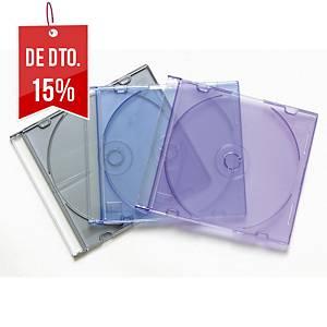 Pack de 25 estojos Fellowes para CD/DVD slim - sortido