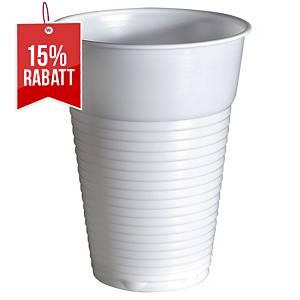 Einweg-Becher Duni Standard, 210 ml, Plastik, weiß, 100 Stück