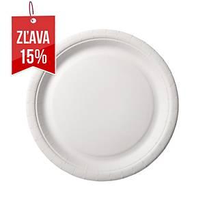 Papierové plytké taniere Duni biele, balenie 100 kusov