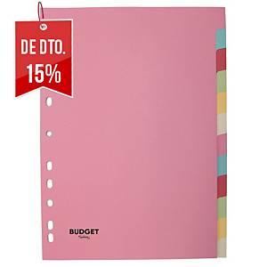 Conjunto 12 separadores pestanas Lyreco Budget - A4 - cartão - sortido pastel
