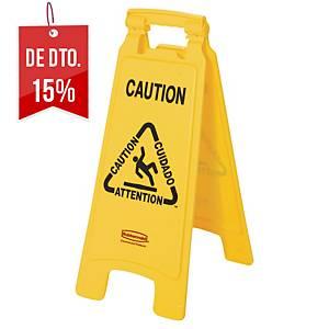 Sinal de aviso multilíngue Rubbermaid - amarelo