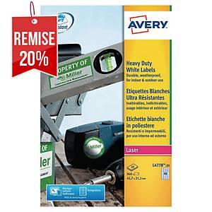 Etiquette ultra-résistante Avery - L4778-20 - 47,5 x 21,2 mm - blanche - par 960