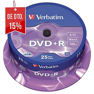 Bobina de 25 DVD+R Verbatim - 4,7GB