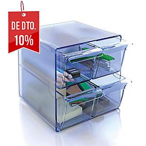 Módulo de organização cubo com 4 gavetas azul transparente