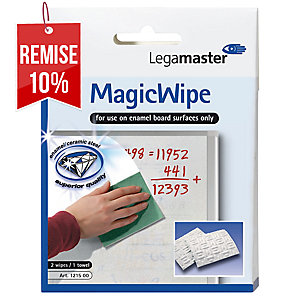 Lingette nettoyante tableau blanc Legamaster Magic Wipe - lot de 2