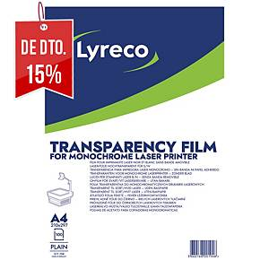 Caixa de 100 folhas de acetato Lyreco para impressora laser monocromática