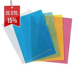 Pack de 25 pastas ranhura Lyreco Premium - A4 - PP - 130 µ - azul