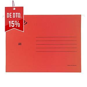 Pack 25 pastas suspensas Lyreco Premium - A4 - cartolina - lombada V - vermelho