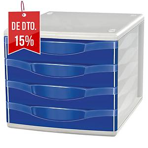 Módulo de organização Exacompta Lyreco - 4 gavetas - azul
