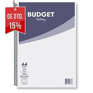 Caderno espiral Lyreco Budget - A4 - 80 folhas - quadriculado