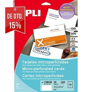 Caixa 100 cartões de visita Apli - 90 x 50,8 mm - 200 g