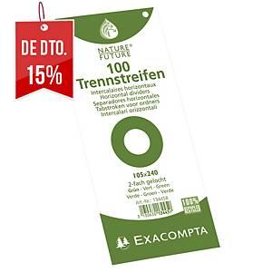Conjunto 100 separadores horizontais Exacompta - papel - verde