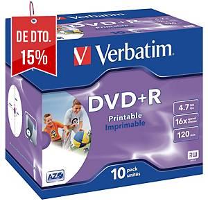 Caixa de 10 DVD+R Verbatim imprimíveis com jato de tinta