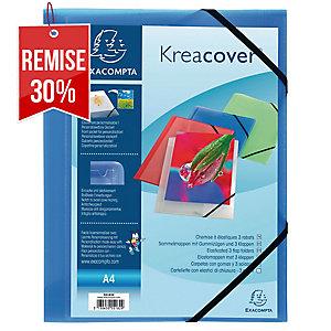 Chemise Exacompta Kreacover - personnalisable - 3 rabats - bleu transparent