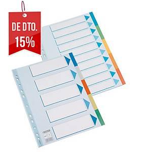 Conjunto 10 separadores Esselte - fólio - PP - sortido