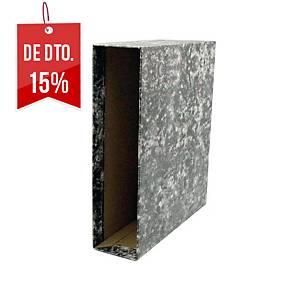Caixa para pasta de arquivo Lyreco - fólio - lombada 82 mm - preto marmoreado