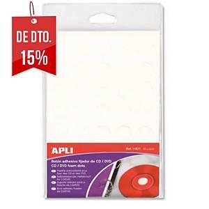 Pack de 35 botões adesivos APLI para fixar CD/DVD - espuma - branco