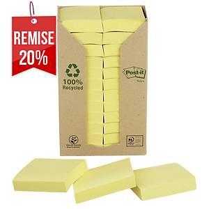 Notes recyclées Post-it - 38 x 51 mm - jaunes - tour 24 blocs x 100 feuilles