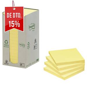 Pack 16 blocos 100 notas adesivas Post-it - papel reciclado - amarelo