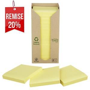 Notes recyclées Post-it - 76 x 76 mm - jaunes - tour 16 blocs x 100 feuilles