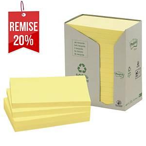 Notes recyclées Post-it - 76 x 127 mm - jaunes - tour 16 blocs x 100 feuilles