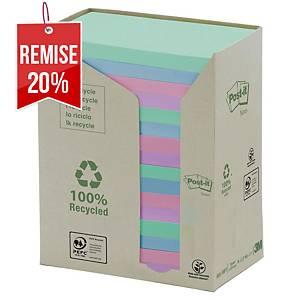 Notes recyclées Post-it - 76 x 127 mm - pastel - tour 16 blocs x 100 feuilles