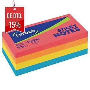 Pack 12 blocos 100 notas adesivas Lyreco - sortido - 51x38mm