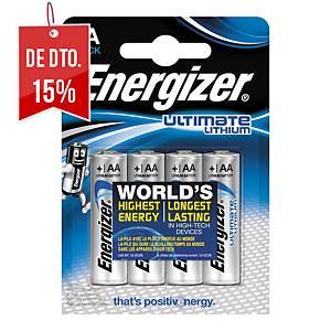 Pack de 4 pilhas Energizer Ultimate Lithium AA/LR06