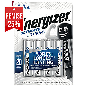 PACK 4 PILES ENERGIZER ULTIMATE LITHIUM L91/AA