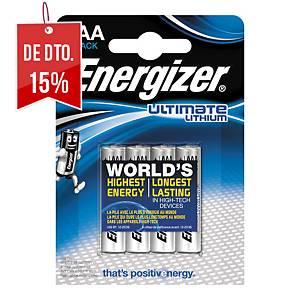 Pack de 4 pilhas Energizer Ultimate Lithium AAA/LR03