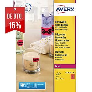 Caixa de 350 etiquetas Avery L7263R-25 - 99,1x38,1mm - vermelho fluor