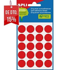 Embalagem de 100 etiquetas redondas Apli - Ø 19mm - vermelho