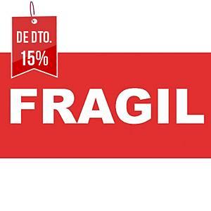 """Rolo de 200 etiquetas com """"Frágil"""" - 50 x 100 mm - vermelho e branco"""