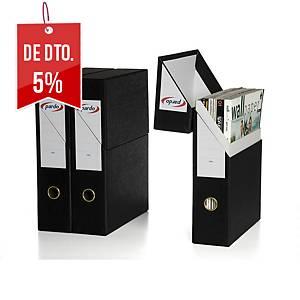 Caixa de arquivo vertical Pardo - fólio - cartão - preto