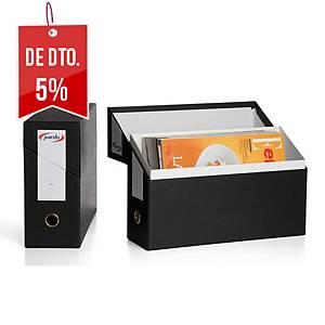 Caixa de arquivo horizontal Pardo - fólio - cartão - preto