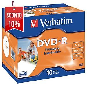 DVD-R stampabili Verbatim 4.7 GB 120 min jewel case - conf. 10