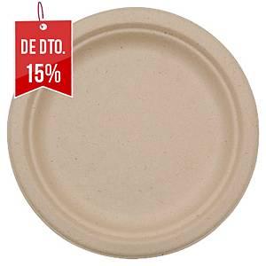 Pack de 50 pratos Duni - bagaço biodegradável - Ø 220 mm - castanho