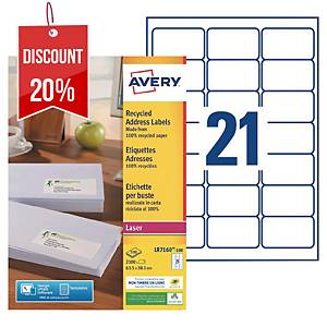Avery LR7160 laser labels recycled 63,5x38,1mm - box of 2100