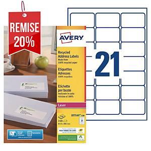 Etiquette adresse recyclée Avery - LR7160 - 63,5 x 38,1 mm - blanche - par 2100