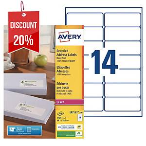 Avery LR7163 laser labels recycled 99,1x38,1mm - box of 1400