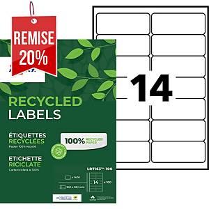 Etiquette adresse recyclée Avery - LR7163 - 99,1 x 38,1 mm - blanche - par 1400