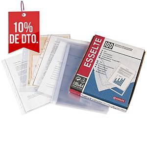 Pack de 100 fundas multitaladro Esselte - A4 - PP rugoso - 80 μ