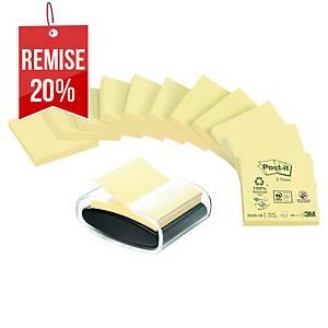 Dévidoir Post-it Z-Notes Millenium + 12 blocs Z-Notes 76 x 76 mm jaunes