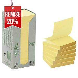 Z-Notes recyclées Post-it - 76 x 76 mm - jaunes - tour 16 blocs x 100 feuilles