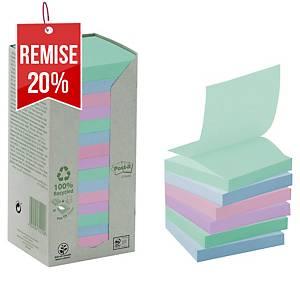 Z-Notes recyclées Post-it - 76 x 76 mm - pastel - tour 16 blocs x 100 feuilles