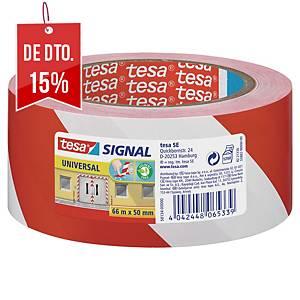 Fita de sinalização adesiva Tesa Signal - 50 mm x 66 m - vermelho/branco