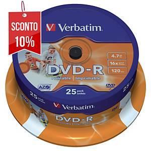 DVD-R stampabili Verbatim 4.7 GB 120 min spindle - conf. 25