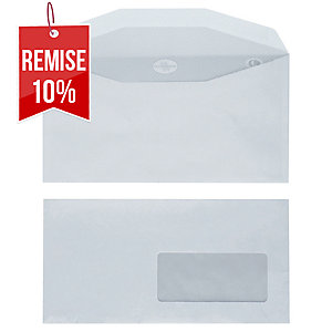 Enveloppe mécanisable 115 x 225 - 80 g - fenêtre 45 x 100 - par 1000